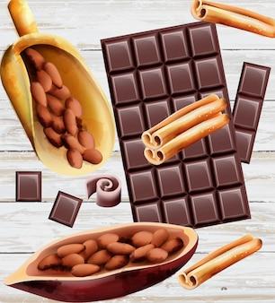 Темный шоколад с корицей и какао-бобами