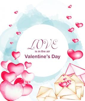 水彩風バレンタイン愛青と日ベクトル
