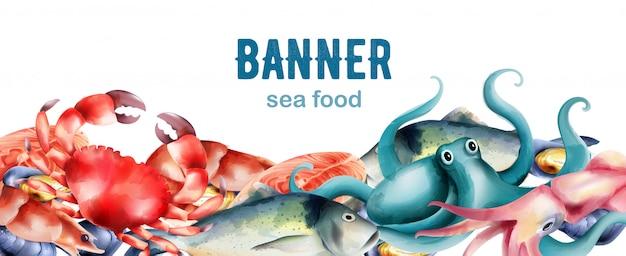 Акварель свежей рыбы и моллюсков с моря