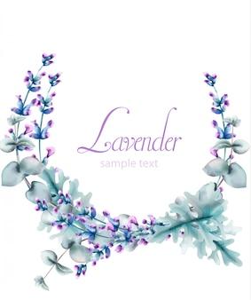 緑の葉と水彩のラベンダーの花