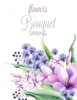 クロッカス、バイオレット、ライラックの花、果実と春の花の花束