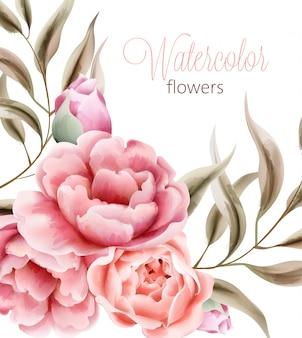 茶色の葉と水彩のバラ牡丹の花