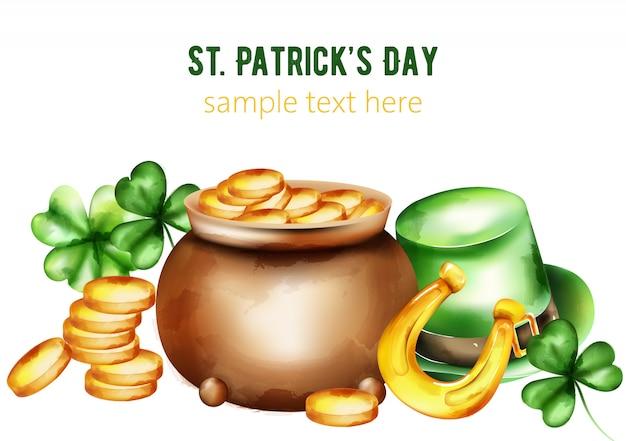 День святого патрика акварель керамический горшок с золотыми монетами. зеленая шляпа, трилистник и подкова