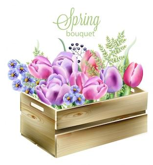 木製の箱に水彩画の春の花束。蘭、ブルーベル、果実、緑の葉、チューリップ