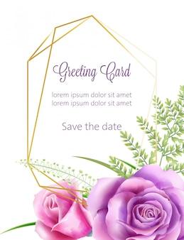 Акварель свадебная открытка с розовыми цветами и зелеными листьями