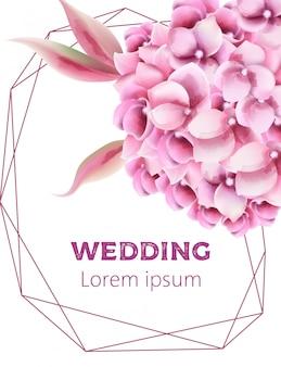蘭の花と五角形フレームの結婚式の招待カード