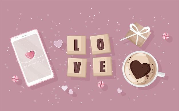 ロマンチックな日の構成を持つスマートフォン。ギフト用の箱、ハート型のコーヒー