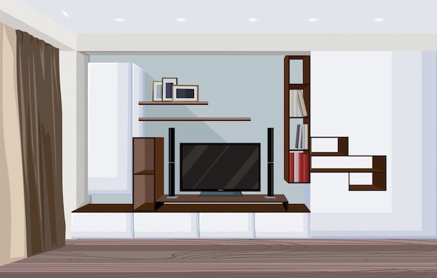 大きなテレビと本やフォトフレーム用の棚を備えたモダンなリビングルーム