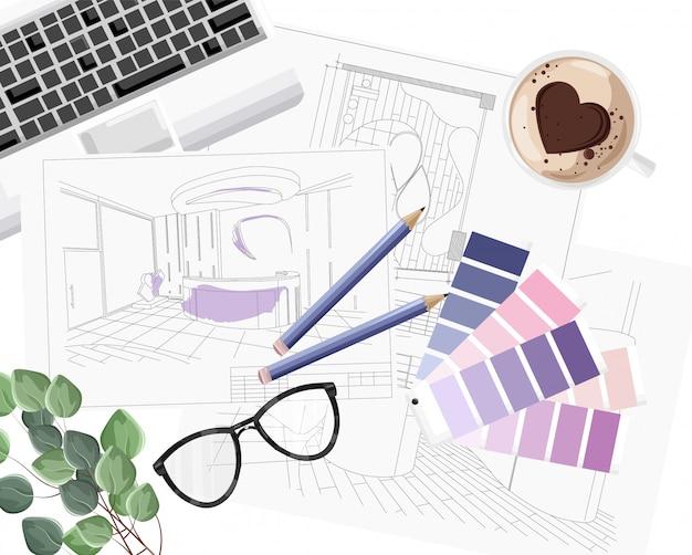 カラーフォーミュラガイド、キーボード、スケッチ、コーヒーとハート型のインテリアデザイナーデスク
