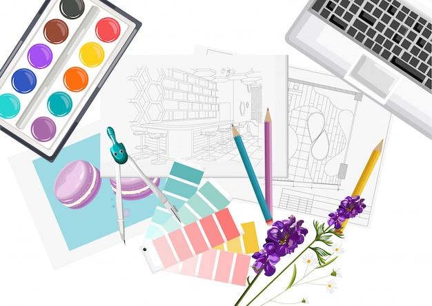 パントンカラーフォーミュラガイド、キーボード、スケッチ、水彩絵の具、コンパスを備えたインテリアデザイナーデスク