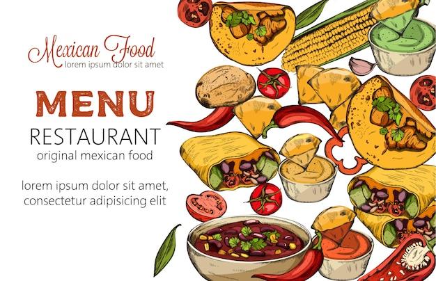トウモロコシ、唐辛子、タコス、スパイシーな豆のスープとメキシコ料理のラインアートの組成