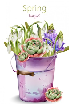 咲く花の春の花束。ブルーベル、ラベンダー、牡丹