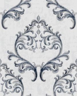 Рококо серебряный узор с цветочным орнаментом