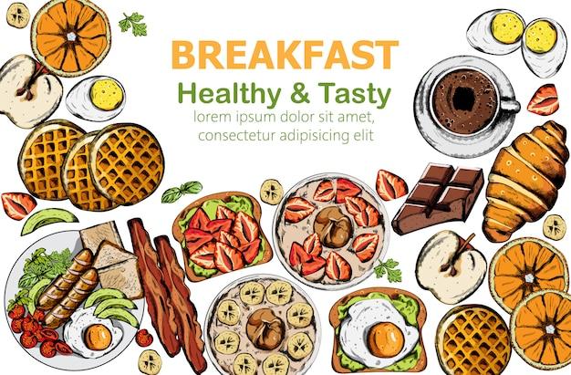 Здоровый и вкусный завтрак с множеством блюд и напитков