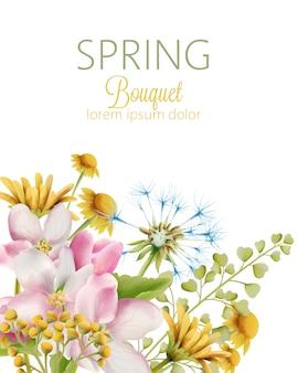 Весенний букет из акварельных маков и цветов ромашки с зелеными листьями