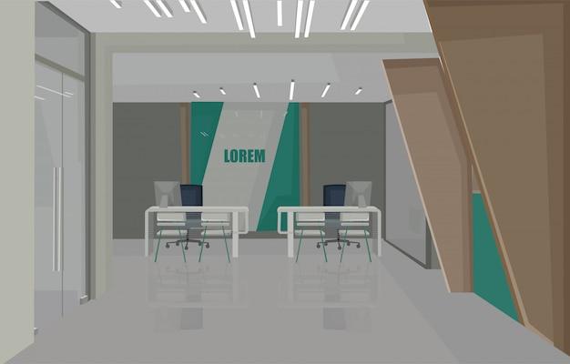 Концепция дизайна интерьера банка с зелеными цветами. стулья для ожидания