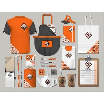 オレンジ色のデザインのコーヒーショップの文房具