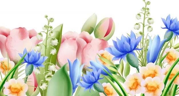 Весенний акварельный букет полевых цветов. белл, тюльпан, астра и нарцисс