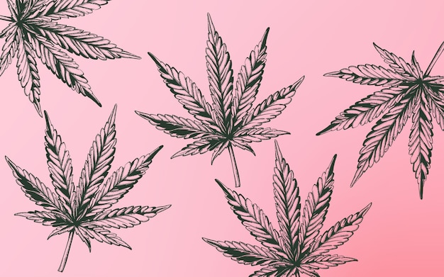 紫色の背景にラインアートマリファナ大麻葉