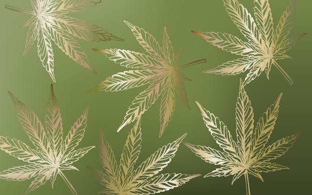 緑の背景にラインアートマリファナ大麻葉