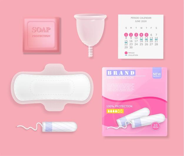 女性の月経周期衛生製品のセット。生理用ナプキン、タンポン、錠剤、カレンダー、パッケージ