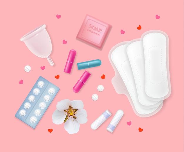 女性の月経周期衛生製品のセット。生理用ナプキン、タンポン、錠剤、花、石鹸、ハート