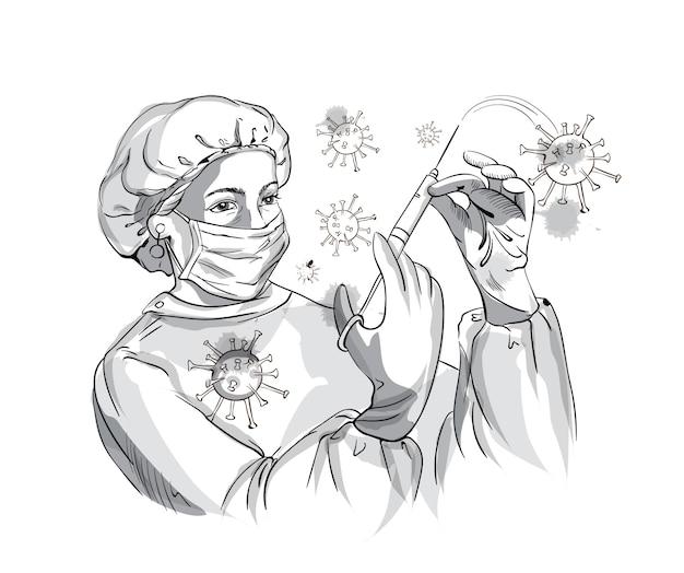 看護師が注射器でコロナウイルスと戦っている間保護具を着用