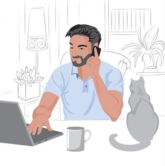 Кавказский человек с бородой и темными волосами, работая дома на ноутбуке.