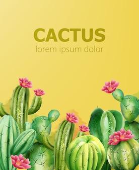 テキストのための場所で黄色の背景にサボテンパターン。花とサボテン