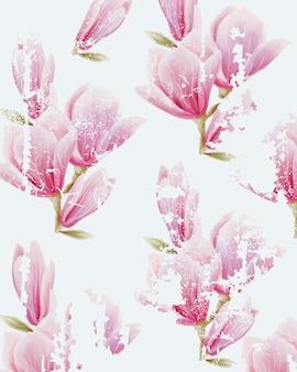 水彩のピンクの妖精ユリの花のパターン。グランジデザイン