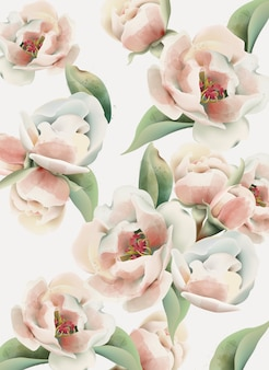Акварель бледно-розового пиона с зелеными листьями