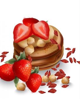 イチゴ果実とナッツのそばパンケーキ。おいしい健康的な朝食