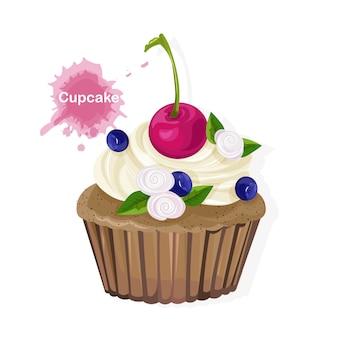 白いクリームの飾り、チェリー、ブルーベリー、花と茶色のカップケーキ