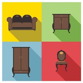 ブラウンの家具