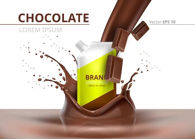 Шоколадный пакет макет вектор реалистичный на фоне брызг