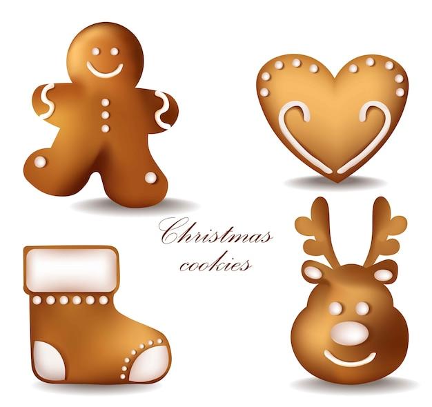 クリスマスジンジャーブレッドクッキー。詳細なデコル