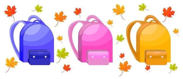 Школьные сумки набор векторные иллюстрации. осенние листья декоров