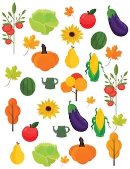 野菜収穫秋シーズンパターンの背景ベクトル図
