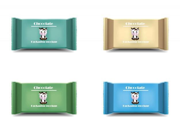 Набор шоколадных батончиков. пакет продуктов вектор реалистичный логотип этикетки