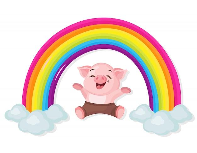 Счастливый маленькая свинья и радуга векторная иллюстрация мультфильм