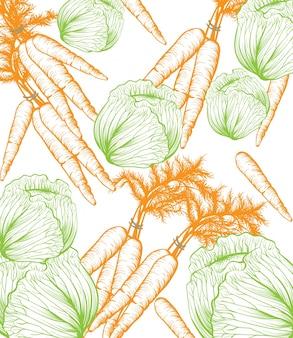 カボチャパターンの背景。ベクトルラインアートの手描きのグラフィックスタイルのイラスト