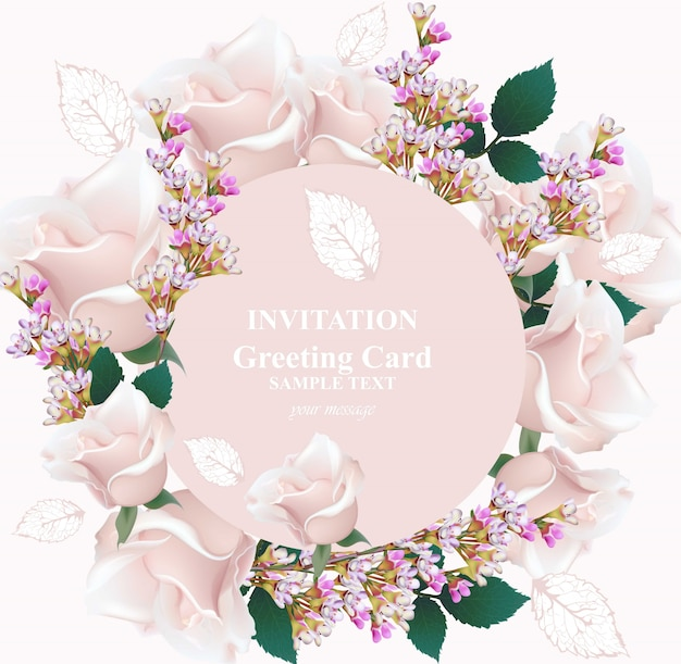 繊細なバラとラベンダーの花のカード。ラウンドウォールフレーム
