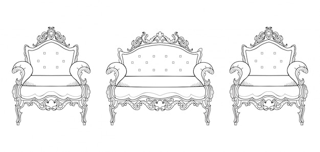 Мебель для кресла с роскошными украшениями. векторные французский роскошный богатый сложной структуры. викторианский королевский стиль