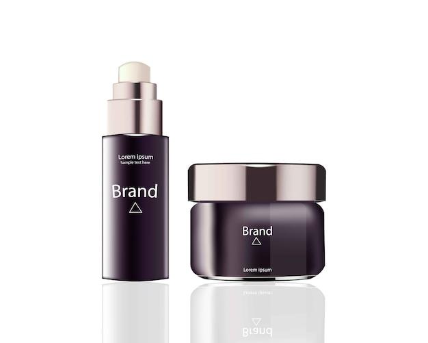 化粧品セットのパッケージベクトル現実的なモックアップ