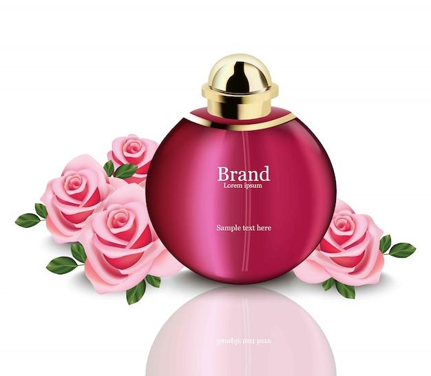 香水化粧品とバラリアルなモックアップ