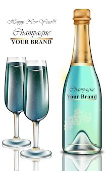 新年の青いシャンパンのボトルと眼鏡のカード