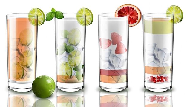 Коктейли установлены реалистично. смесь фруктовых фруктов. рецепты напитков для меню, страниц, макетов