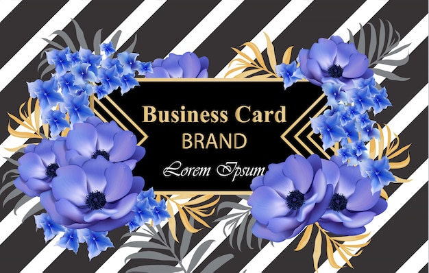 花のラグジュアリーカード。ブランドブック、名刺、ポスターのための美しいイラスト。テキストのための場所