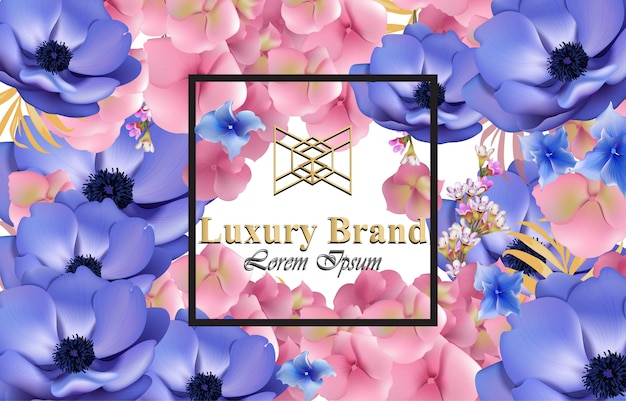 花のラグジュアリーカード。ブランドブック、名刺、ポスターのための美しいイラスト。成長している花の背景。テキストのための場所