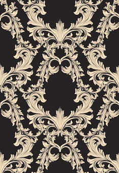 ハンドメイドの飾りの装飾のダマスク模様。バロック様式の背景テクスチャ